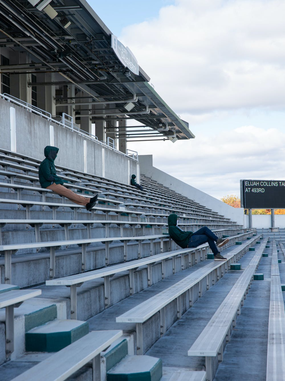<p>Fans socially distance at Spartan Stadium on Oct. 24, 2020, during a football game against Rutgers.</p>