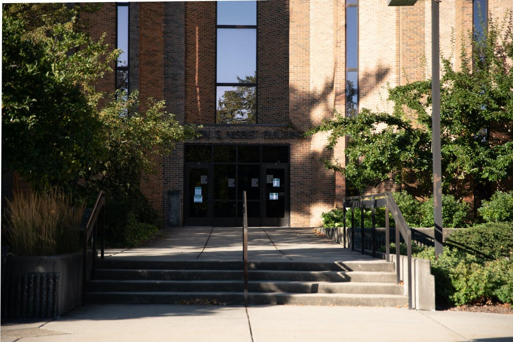 <p>Front doors of Michigan State University&#x27;s Nisbet Human Resources Building on Friday, September 4, 2020.</p>