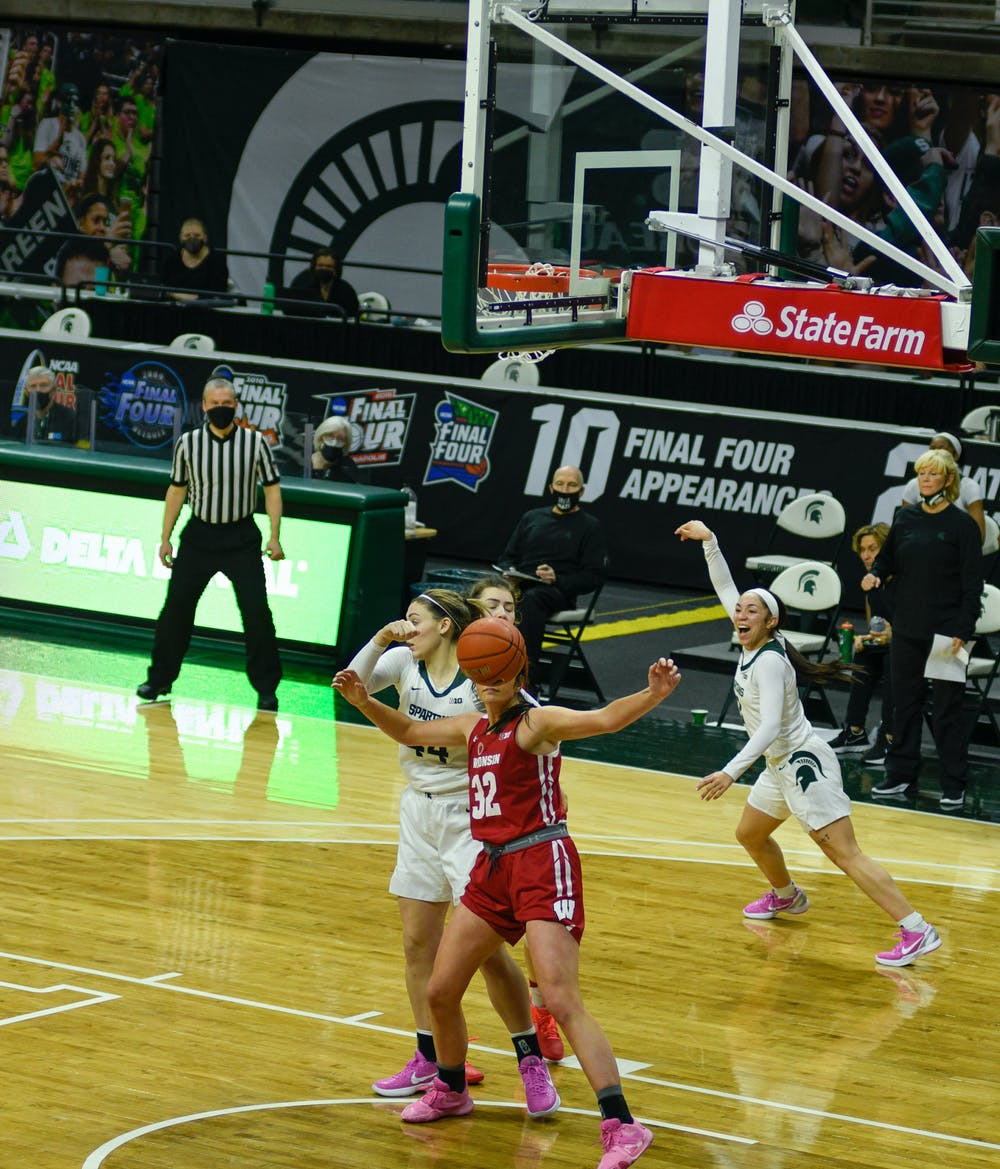 <p>Michigan State&#x27;s Alyza Winston (3) celebrating after one of her multiple points of the night in the game against Wisconsin on March 6, 2021.</p>