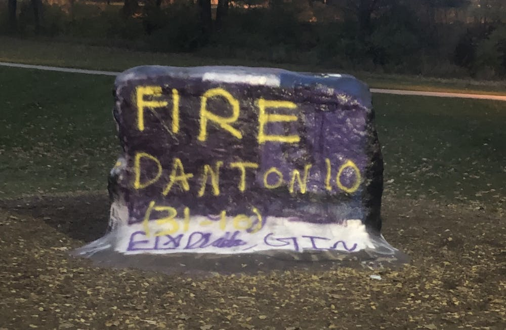"""The Rock on Farm Lane is painted with the message """"Fire Dantonio"""" on Nov. 10."""