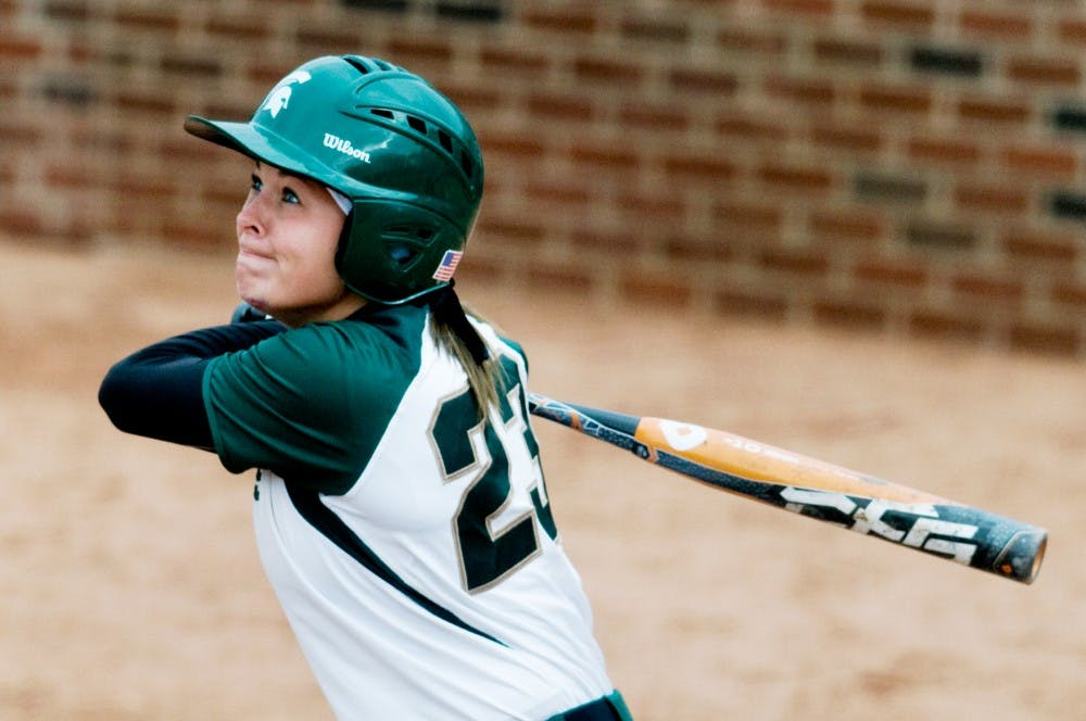Freshman shortstop Alyssa McBride swings while up to bat against Butler Thursday afternoon at Secchia Stadium. The Spartans lost to the Bulldogs 8-1. Samantha Radecki/The State News