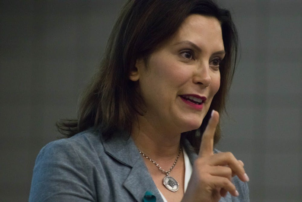<p>Gov. Gretchen Whitmer addresses the MSU College Democrats on Sept. 18, 2018, at Wells Hall. State News file photo.</p>
