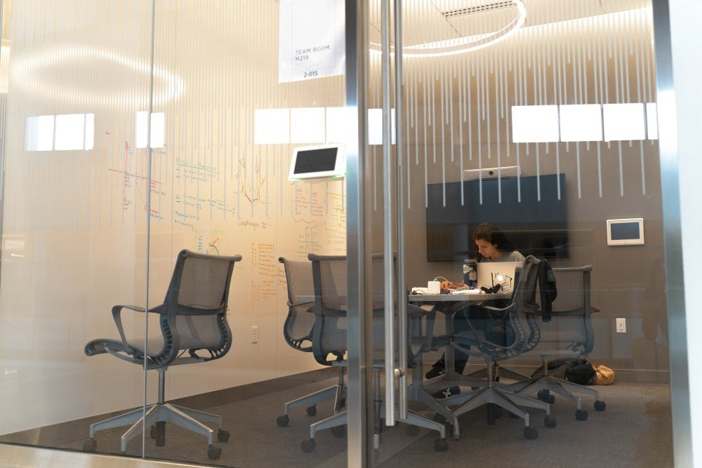 <p>A student is studying in a study room at the Minskoff Pavilion on July 25.</p>