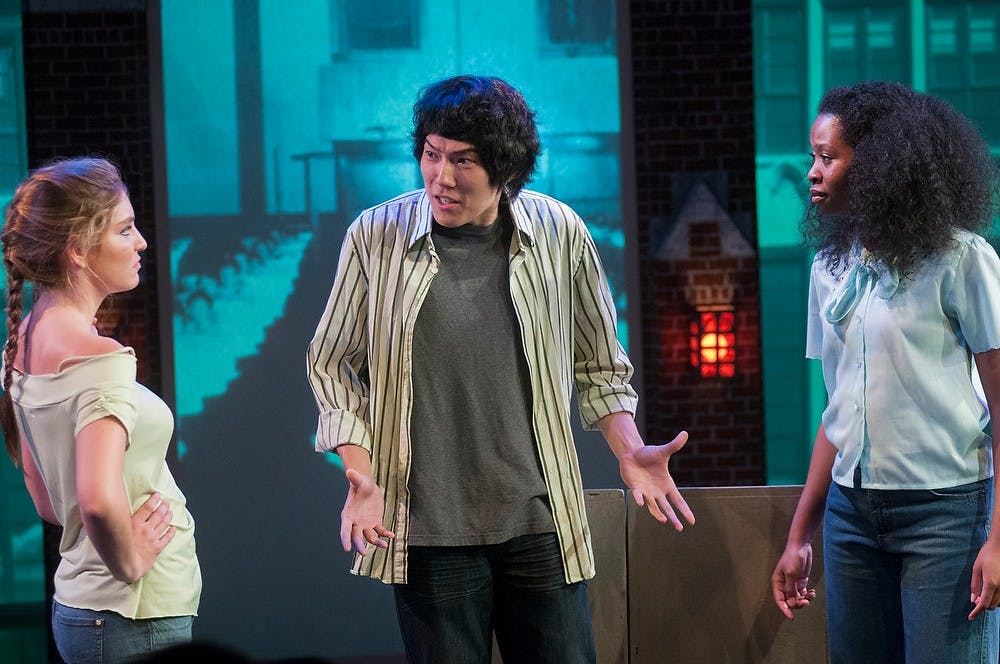 <p>Cast members (from left to right) Christi Thibodeau, Yifan Luo, and Taylor Blair all perform a skit during Rob Roznowski's 60/50 Theater Project on Sept. 19, 2014, at the Fairchild Theatre. Raymond Williams/The State News</p>