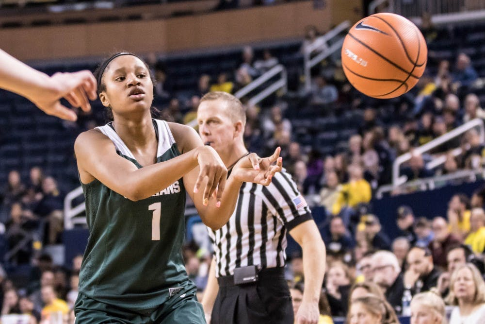 Freshman forward Sidney Cooks (1) passes the ball to the corner during the game against Michigan on Jan. 23, 2018, at Crisler Center. The Spartans fell to the Wolverines, 74-48.