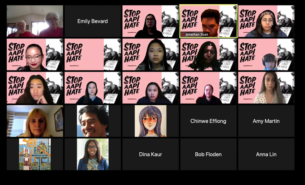 <p>A screenshot from the March 25 townhall regarding violence and discrimination towards Asians and Asian Americans.  </p>