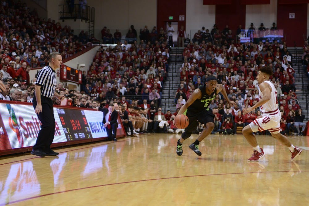 <p>Junior point guard Cassius Winston drives toward the basket against Indiana University at Assembly Hall March 2, 2019. The Spartans lost 63-62.</p>