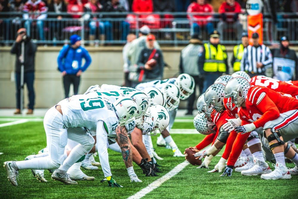 The Spartan defensive line waits for a play to start during the game against Ohio State, on Nov. 11, 2017, at Ohio Stadium. The Spartans were defeated by the Buckeys, 48-3.
