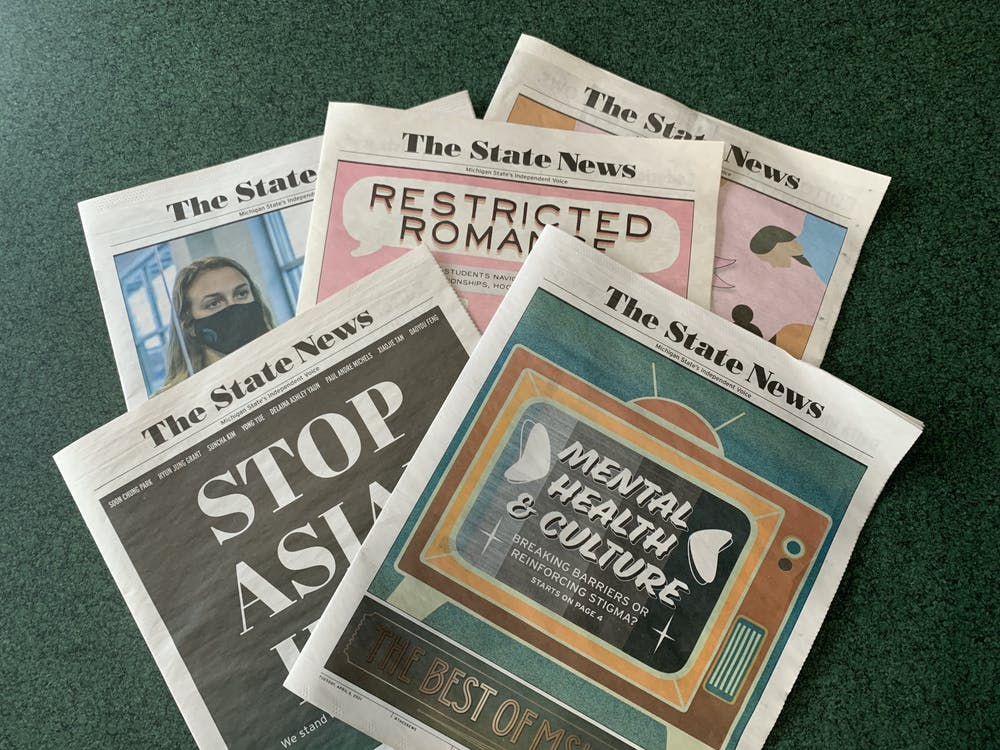 <p>The State News&#x27; spring print issues are pictured on April 19, 2021. Photo by Daena Faustino.</p>