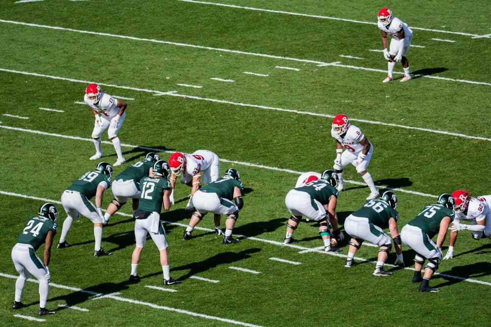 MSU takes posession during a game against Rutgers on Oct. 24, 2020.