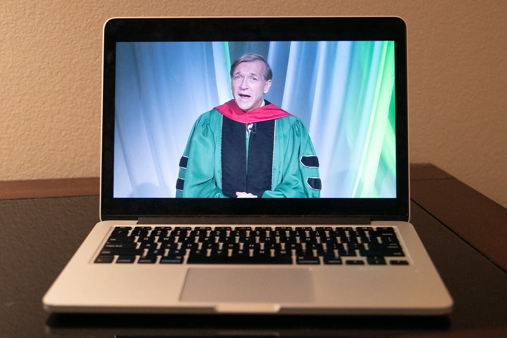 <p>President Samuel L. Stanley Jr. speaks at MSU&#x27;s virtual commencement May 16, 2020.</p>