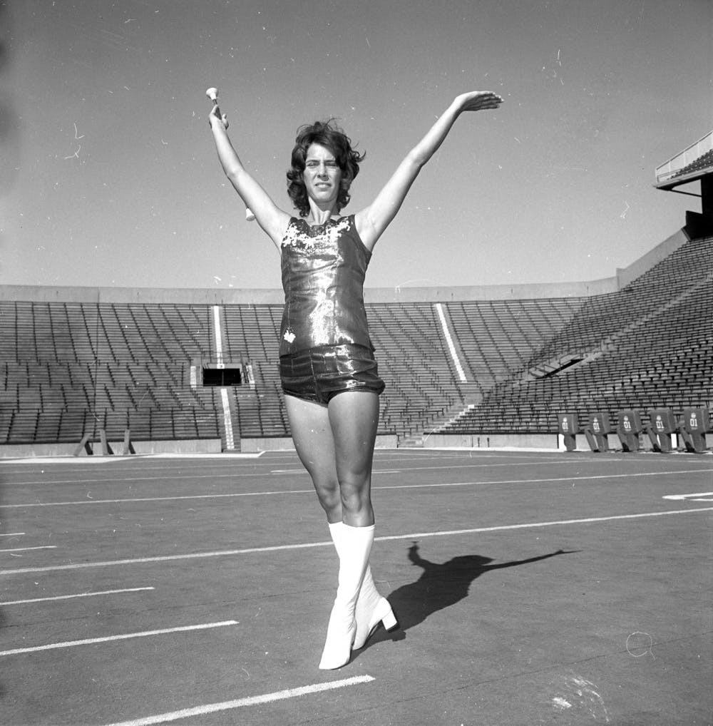 Beth Kaufman, one of the first female band members in 1972, poses for a photo during pre-season. Photo courtesy of MSU Archives