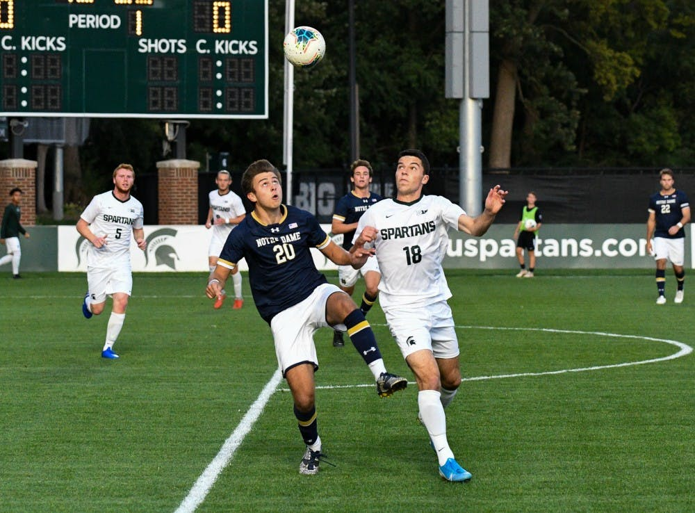 Notre Dame sophomore midfielder Patrick Coleman (20) and junior midfielder Michael Miller (18) fight for a header during the game at DeMartin field on September 24, 2019. The Spartans lost to the Fighting Irish 0-1.