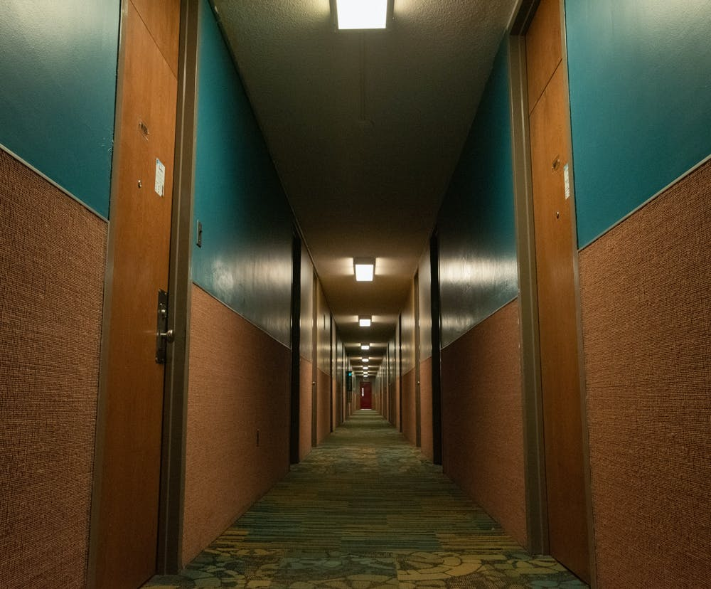 <p>A residential hallway of West Holmes Hall photographed on Jan. 29, 2021.</p>