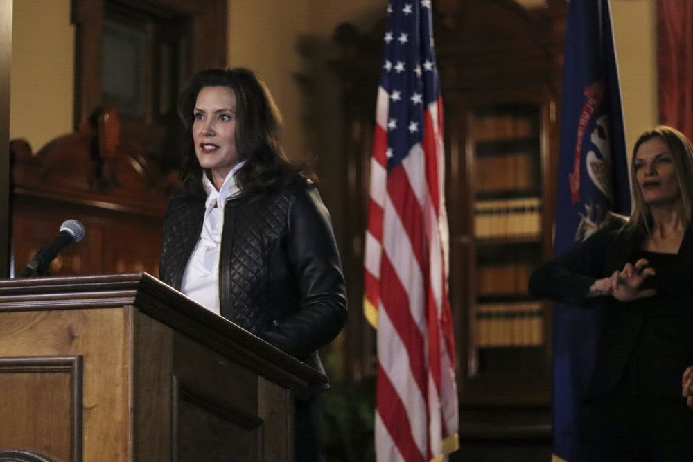 <p>Courtesy image of Gov. Gretchen Whitmer at the Capitol on Oct. 8, 2020, provided by Michigan executive office of the governor.</p>