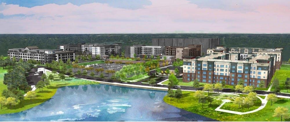 <p>Bird&#x27;s-eye view rendering looking northwest at the Red Cedar Development, courtesy of Continental/Ferguson LLC.</p>