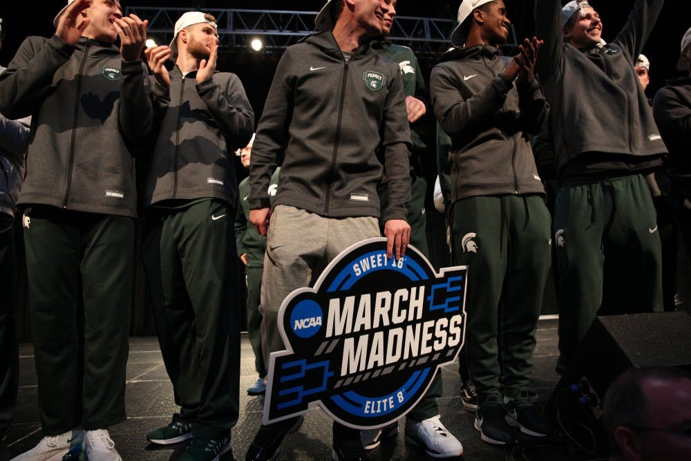 <p>The MSU men&#x27;s basketball team takes the stage after its 68-67 win over Duke on April 1, 2019, at the Breslin Center. The Spartans advanced to the Final Four, where they will face Texas Tech on Saturday. </p>