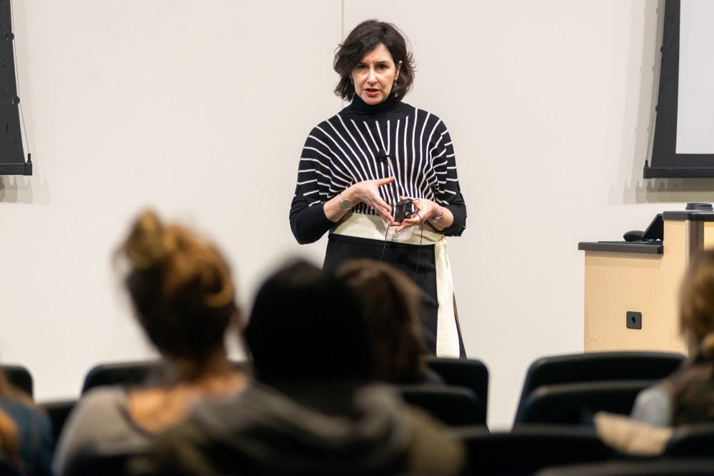 Author Gail Stern speaks about rape culture at the Facility for Rare Isotope Beams on April 4, 2019.