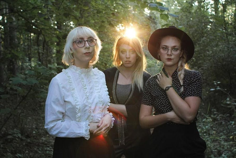 <p>Comedy Coven members: Emily Syrja (left), Tricia Chamberlain (middle) and Stephanie Onderchanin (right). Syrja and Onderchanin both attended&nbsp;MSU. Photo courtesy of&nbsp;Stephanie Onderchanin</p>
