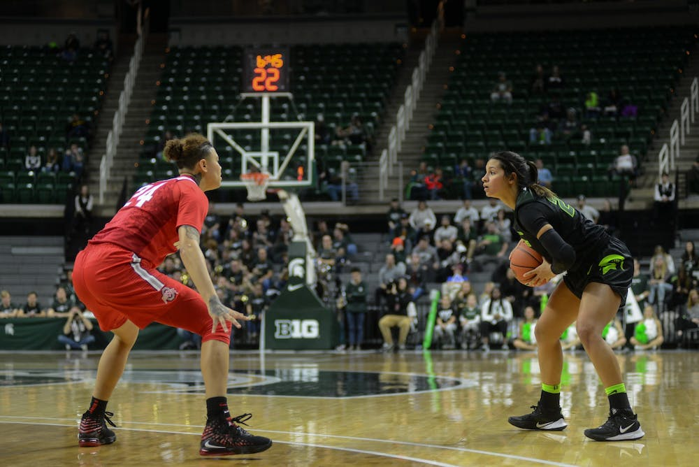 <p>Ohio State freshman guard Kierstan Bell and Michigan State freshman guard Moira Joiner during the game against Ohio State on Jan. 16.</p>