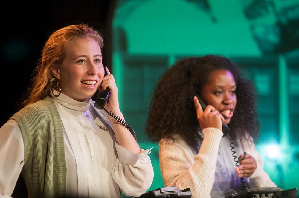 <p>Cast members Kendall Kotcher and Taylor Blair perform a live skit during Rob Roznowski's 60/50 Theater Project on Sept. 19, 2014, at Auditorium. Raymond Williams/The State News</p>