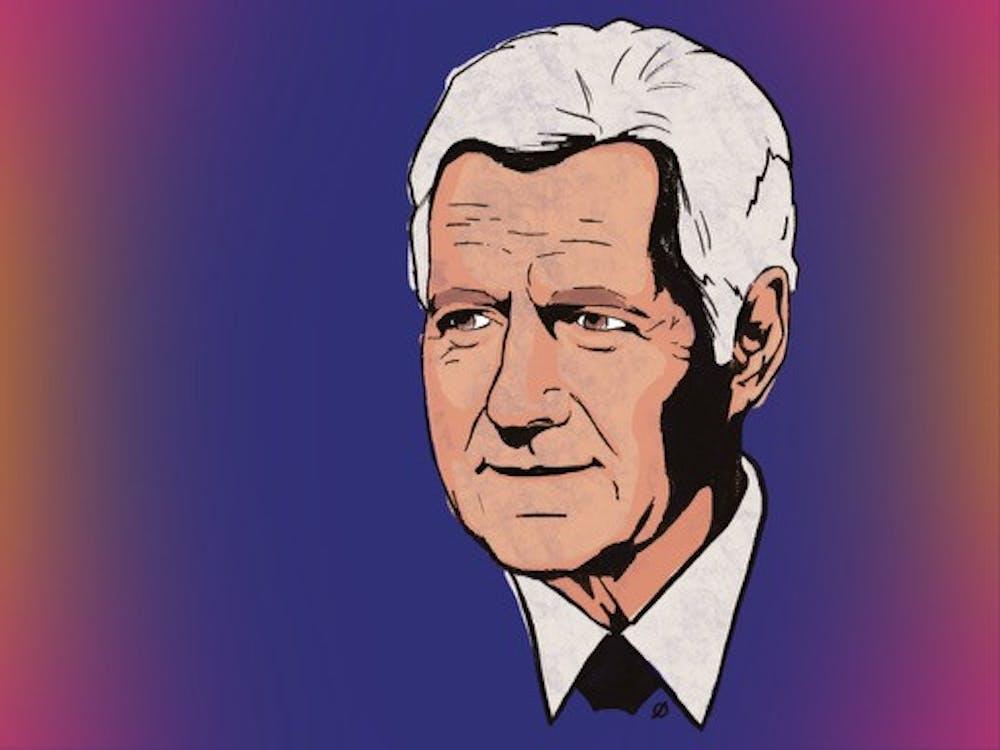 """Late """"Jeopardy!"""" host Alex Trebek (Illustration by Daena Faustino)."""