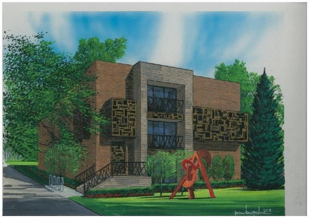 <p>A rendering of Pincanna&#x27;s approved site plan for a dispensary at 1234 E. Grand River Ave. Courtesy of Pincanna and the City of East Lansing.</p>