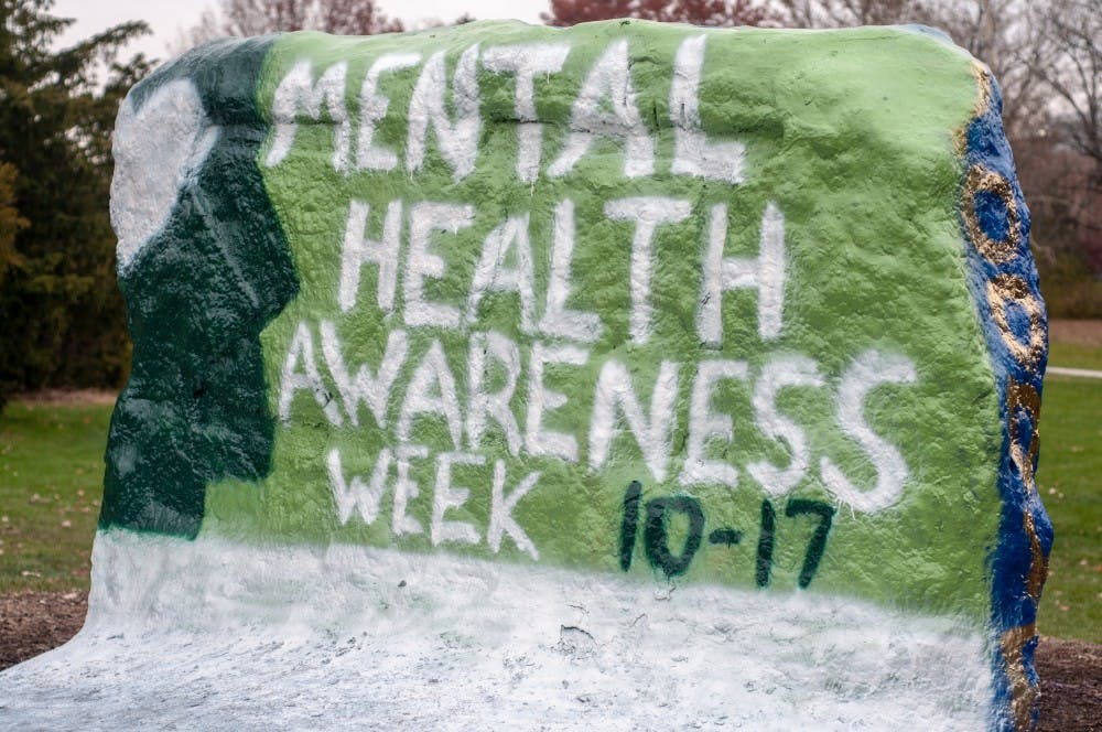The Rock at the kickoff event for ASMSU's Mental Health Awareness Week on Nov. 12, 2018.