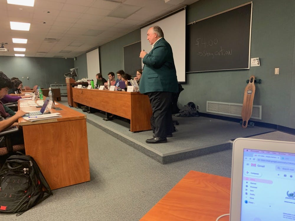 <p>MSU Interim President John Engler speaks to the Associated Students of Michigan State University's, or ASMSU's, general assembly on Thursday, Nov. 1.&nbsp;</p>