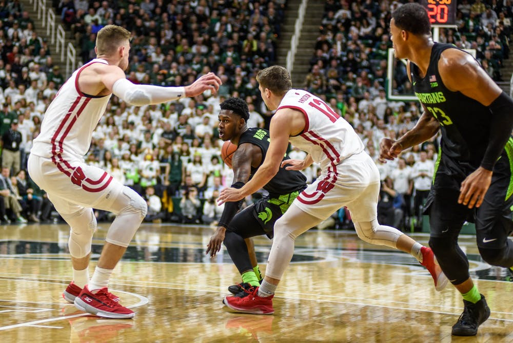 Freshman guard Rocket Watts (2) moves with the ball during the game against Wisconsin at Breslin Center on Jan. 17, 2020.The Spartans defeated the Badgers, 55-67.