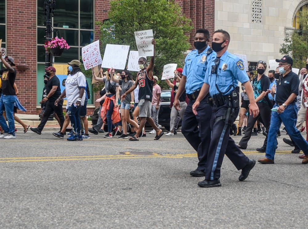 Lansing Police are seen at the protest against police brutality at the Michigan State Capitol on June 10, 2020.