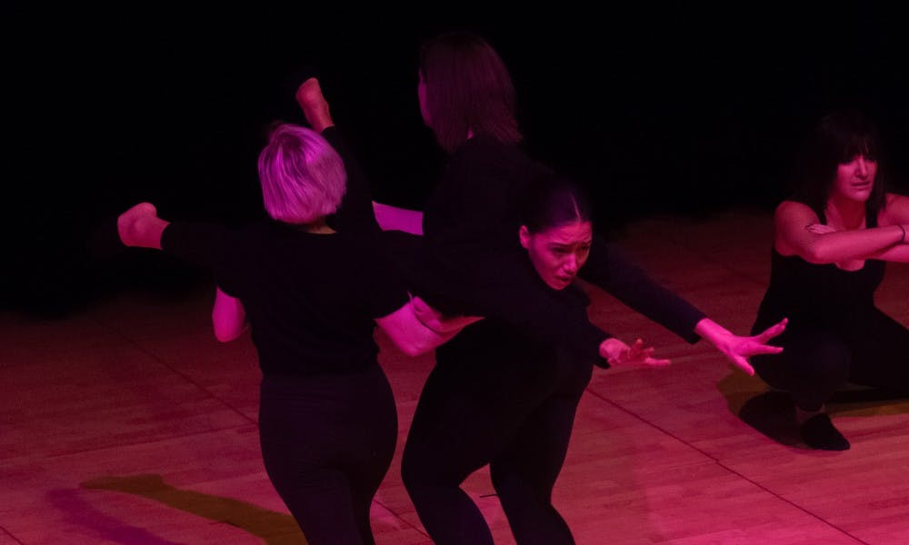 """Students perform a dance routine during """"Through the Storm"""" in Snyder Phillips Hall on February 10, 2019."""
