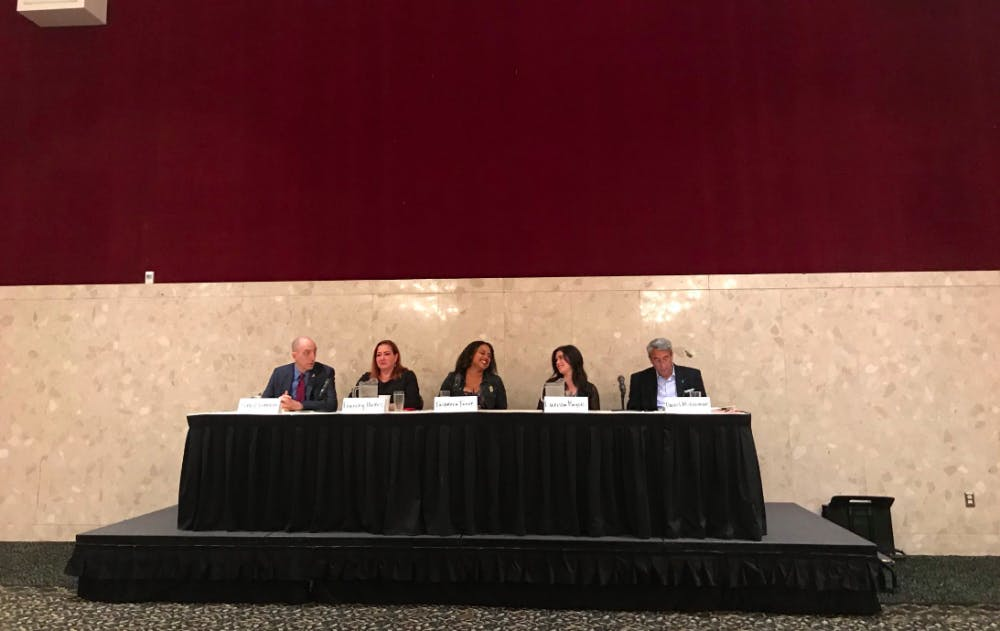 """<p>Nassar survivor Larissa Boyce, FBI/NYPD Sexual Exploitation of Children Task Force member Jim Clemente and more speak at a panel discussing """"nice guy"""" sexual offenders at the MSU Union on Sept. 21.&nbsp;</p>"""