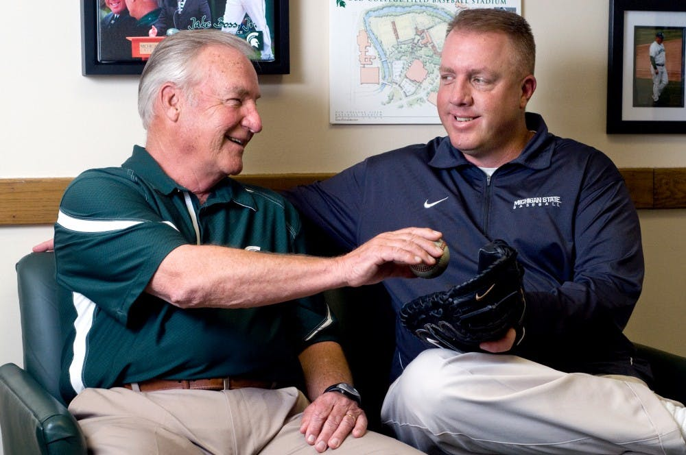 <p>Many baseball teams must work together closely, but the Spartans are more of a family than most. Jake Boss Jr., right, is the head coach for the Spartans while his father, Jake Boss Sr., is a volunteer assistant coach.</p>