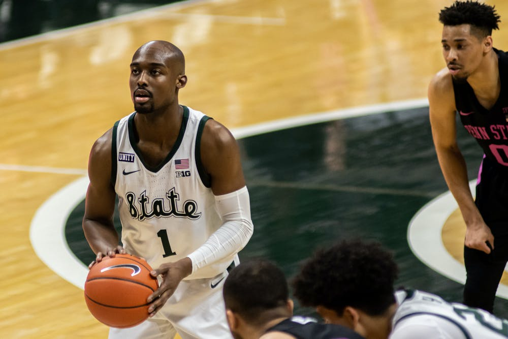 <p>Graduate student Joshua Langford shoots a free throw in the final minutes of the Spartans&#x27; win against Penn State on Feb. 9, 2021. During the game, Langford eclipsed 1,000 career points.</p>