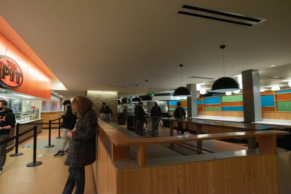 <p>The Edge dining hall inside of Akers Hall on Jan. 29, 2021.</p>