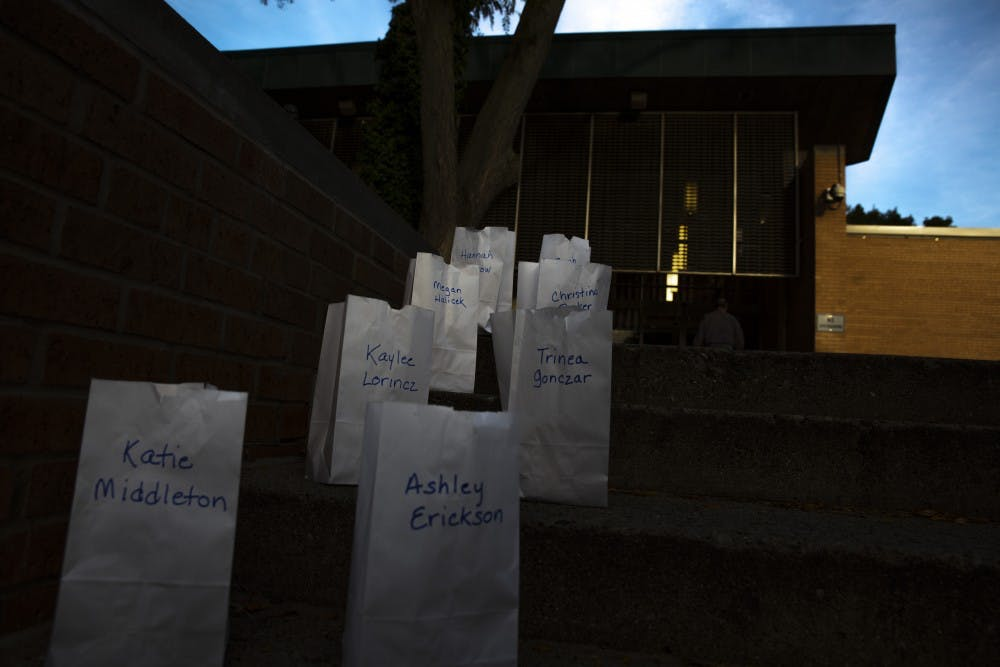 <p>POSSE lit 505 luminaries signifying the known survivors of Larry Nassar on Oct. 10, 2019 at the East Lansing Public Library.</p>