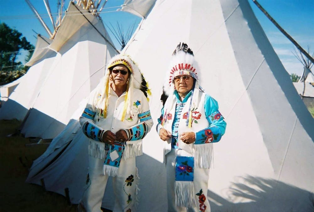 <p>Alexa Oldman&#x27;s grandfathers pose for a picture on Nov. 13, 2020. Oldman has ties to two tribes: Northern Arapaho in Wyoming, and the Little Traverse Bay Bands of Odawa in Petoskey, Michigan. Photo courtesy of Alexa Oldman.</p>