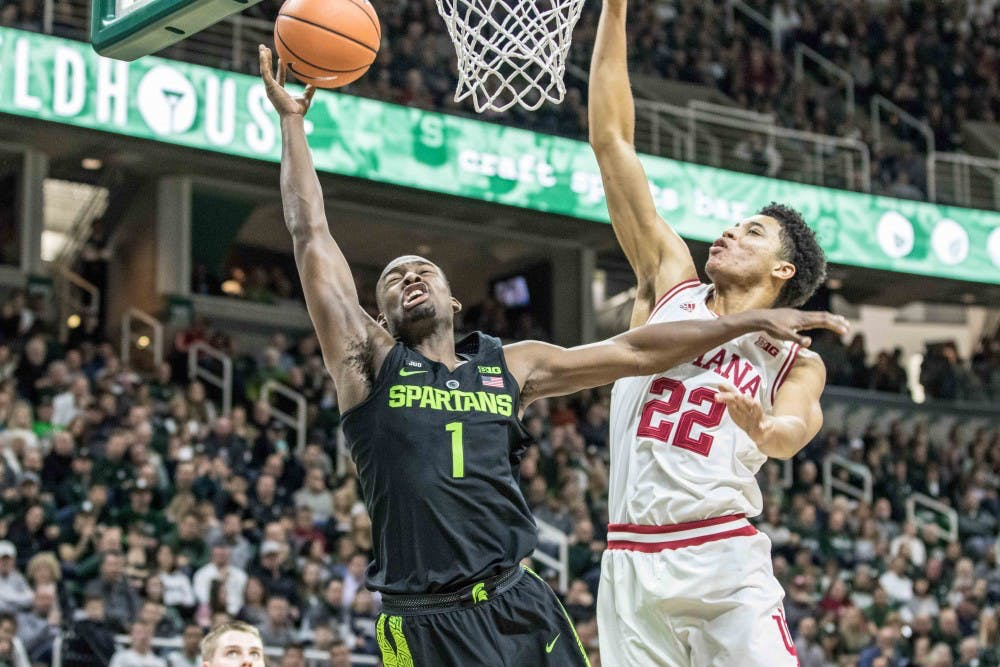 Sophomore guard Joshua Langford (1) shoots a layup as he's fouled during the game against Indiana on Jan. 19, 2018, at the Breslin Center. The Spartans defeated the Hoosiers, 85-57.