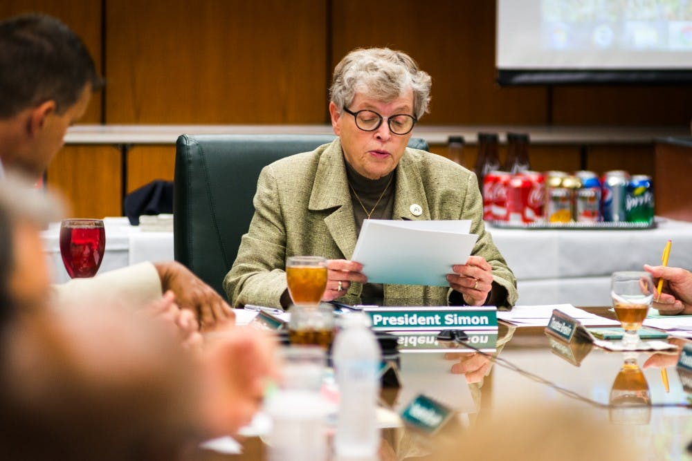 President Lou Anna K. Simon speaks during the Board of Trustees meeting on June 6, 2017, at the Hannah Administration Building. The board discussed tuition, budget and facility renovations.