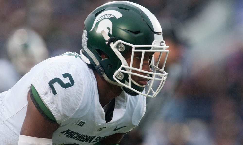 <p>Sophomore cornerback &nbsp;Justin Layne (2) gears up for a play during the game against Northwestern on Oct. 28, 2017 at Ryan Field. The Spartans fell to the Wildcats, 39-31, in triple overtime.</p>