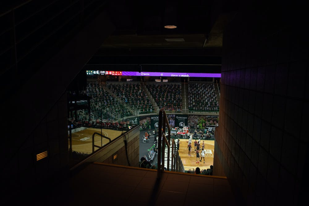 An entrance to the lower bowl in the Breslin Center. Photographed on Feb. 25, 2021.