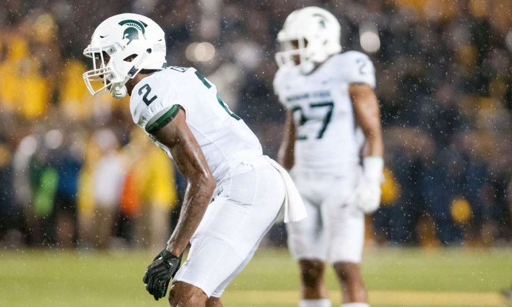 Sophomore centerback Justin Layne (2) prepares for a play during the game against University of Michigan on Oct. 7, 2017, at Michigan Stadium. The Spartans defeated the Wolverines 14-10.