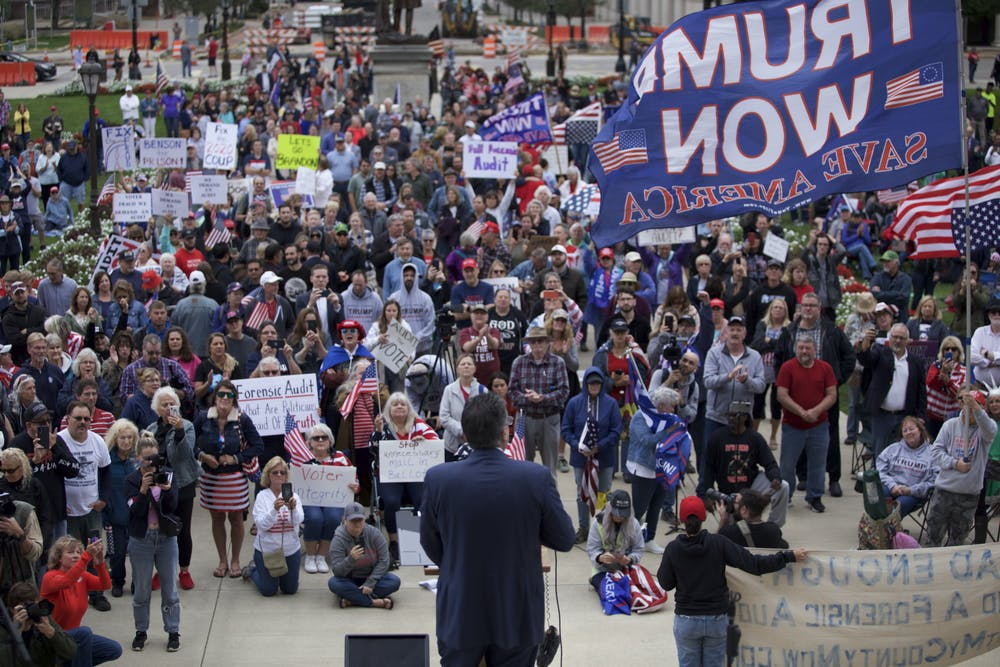 <p>Attorney General candidate Matthew DePerno addresses the crowd calling for a full, forensic audit of the 2020 election on Oct. 12 at the Michigan Capitol. </p>