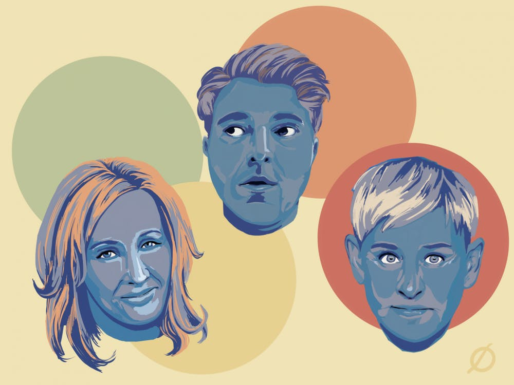 <p>An illustration of notable stars who have been canceled including author J.K. Rowling, YouTuber Shane Dawson and Ellen DeGeneres </p>