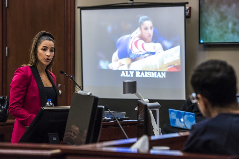 Six-time Olympic medal winner Aly Raisman addresses Ex-MSU and USA Gymnastics Dr. Larry Nassar during her statement on the fourth day of Nassar's sentencing on Jan. 19, 2018 at the Ingham County Circuit Court in Lansing. (Nic Antaya | The State News)