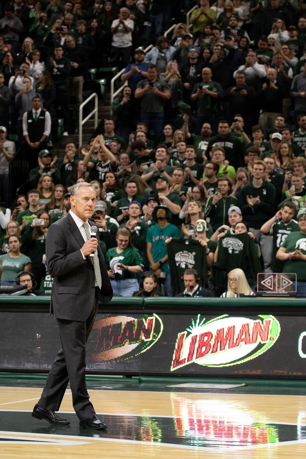 Mark Dantonio addresses the crowd during halftime of a basketball game at the Breslin Center on Feb. 4, 2020.