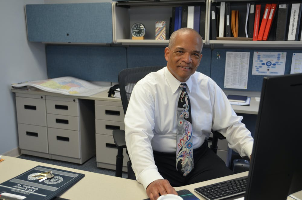 <p>Police Chief Kim Johnson in his office. Photo courtesy of East Lansing Police Department.</p>