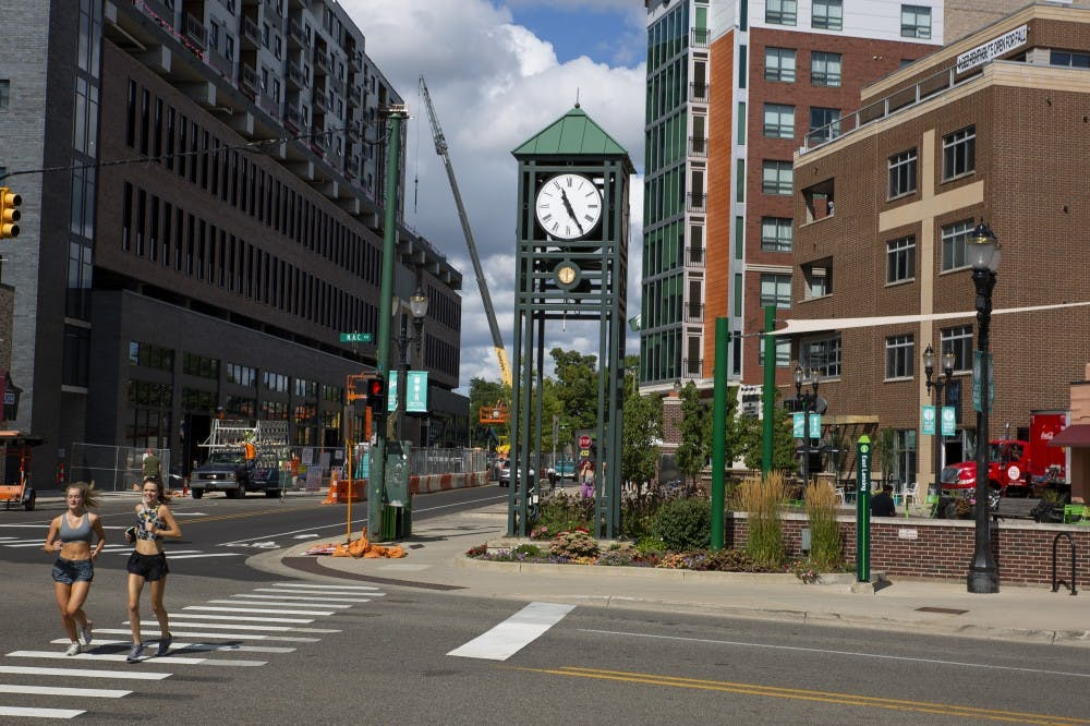 <p>The East Lansing clock tower on Aug. 23, 2019 in East Lansing.  </p>