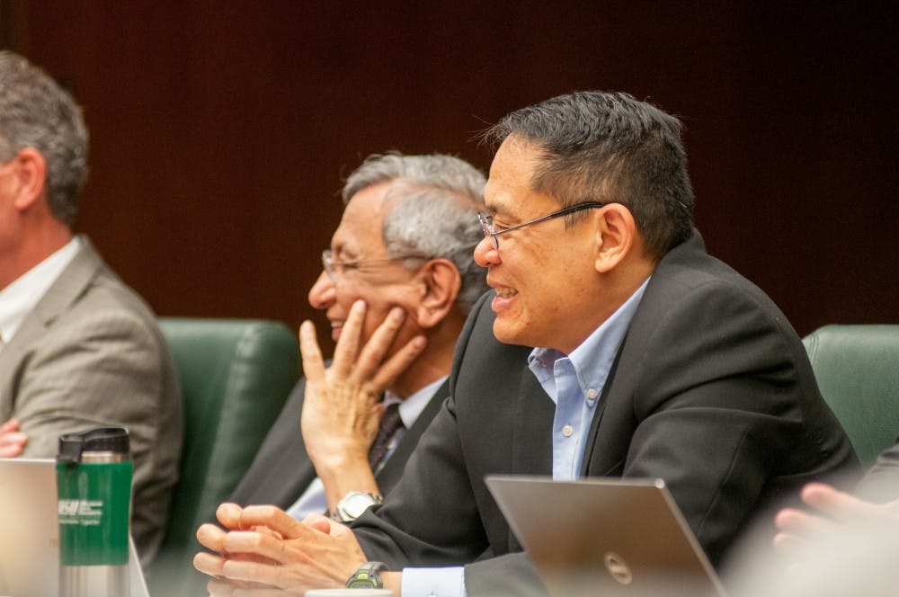 <p>Vice President for Research and Graduate Studies Stephen Hsu is pictured during the Board of Trustees meeting on Oct. 27, 2017, at the Hannah Administration Building.</p>